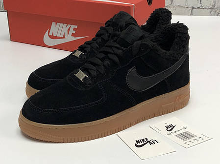 Зимние мужские кроссовки Nike Air Force Black с мехом. ТОП Реплика ААА класса., фото 2