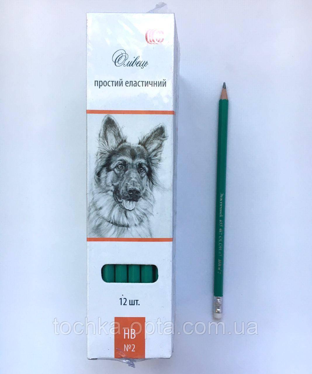 Простий еластичний олівець з гумкою 12 шт. в упаковці
