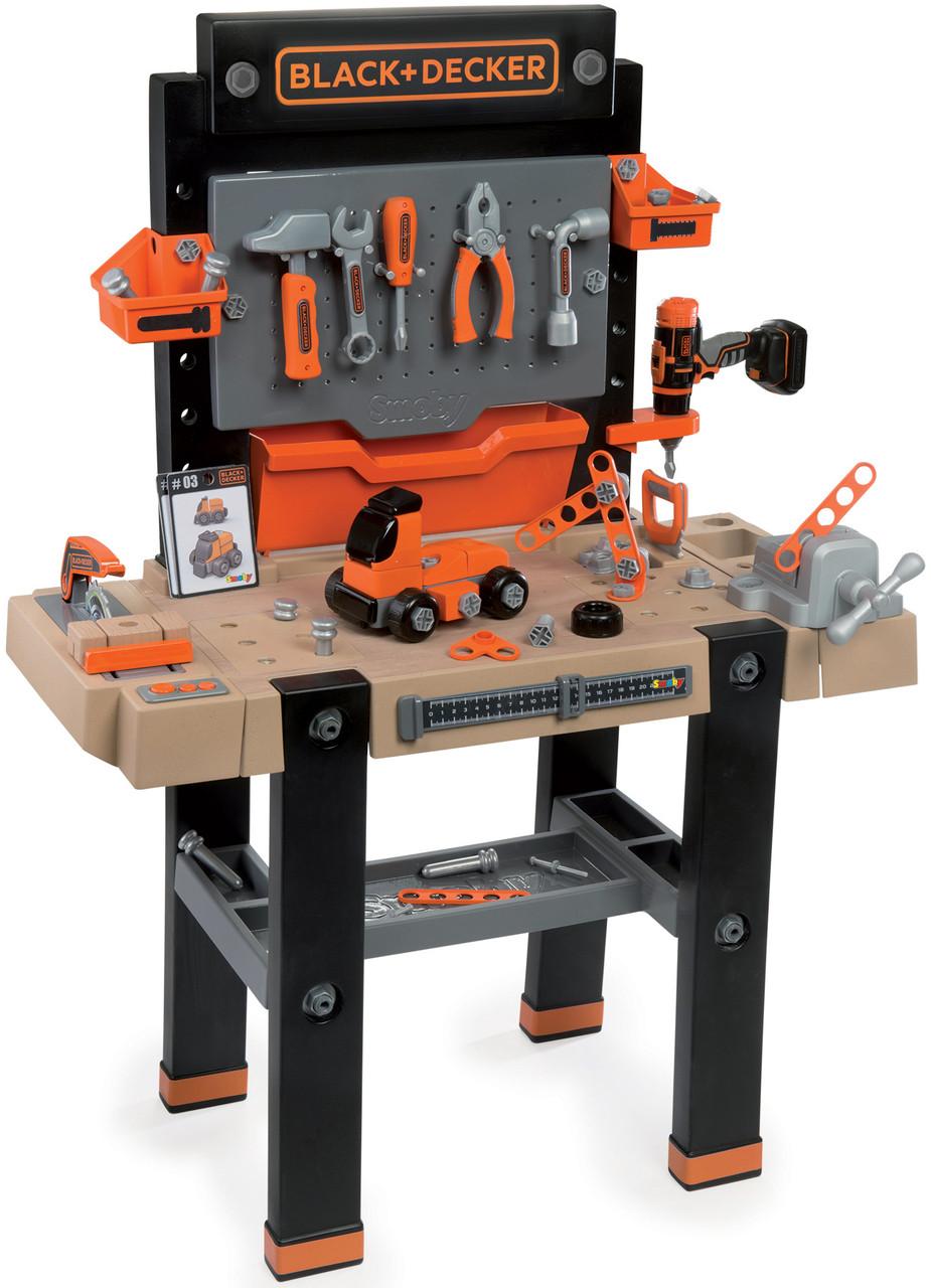 Детский набор инструментов Smoby Смоби интерактивная мастерская 95 аксессуаров Black+Decker 360702