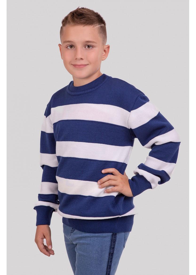 """Стильный джемпер на мальчика """"Лукас"""" джинсовый в полоску"""