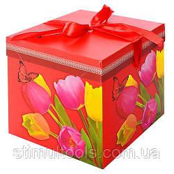 """Коробка подарункова паперова Stenson """"Тюльпани"""" 22*22*22 см"""