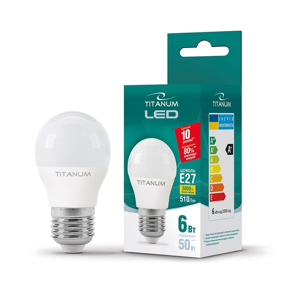 LED лампа TITANUM G45 6W E27 3000K 25681 TLG4506273