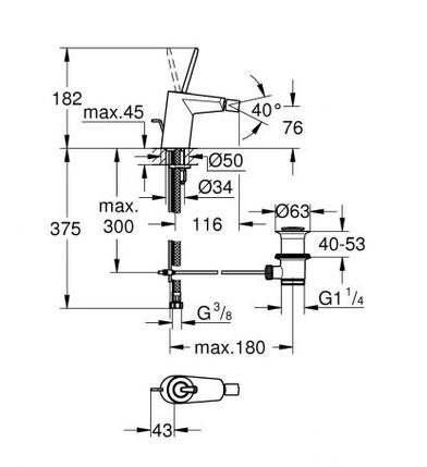 Grohe Eurodisc Joy Змішувач одноважільний для біде S-Size (24036000), фото 2