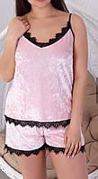 Летний домашний комплект из бархата, велюровая летняя пижама: топ+шорты  р.42-48. Арт-1513/8, фото 1