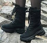 Ботинки высокие женские зима из натуральной кожи на низком ходу от производителя модель ЛИН991, фото 2