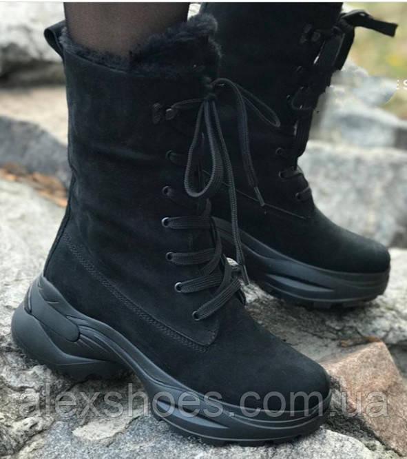 Ботинки высокие женские зима из натуральной кожи на низком ходу от производителя модель ЛИН991