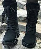 Ботинки высокие женские зима из натуральной кожи на низком ходу от производителя модель ЛИН991, фото 3