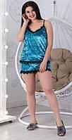 Річний домашній комплект з оксамиту, велюрова річна піжама: топ+шорти р. 42-48. Арт-1513/8, фото 1