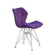Стул обеденный мягкий на металлических ножках  GREG  CH-ML Onder Mebli бархат, цвет пурпур  B-1013