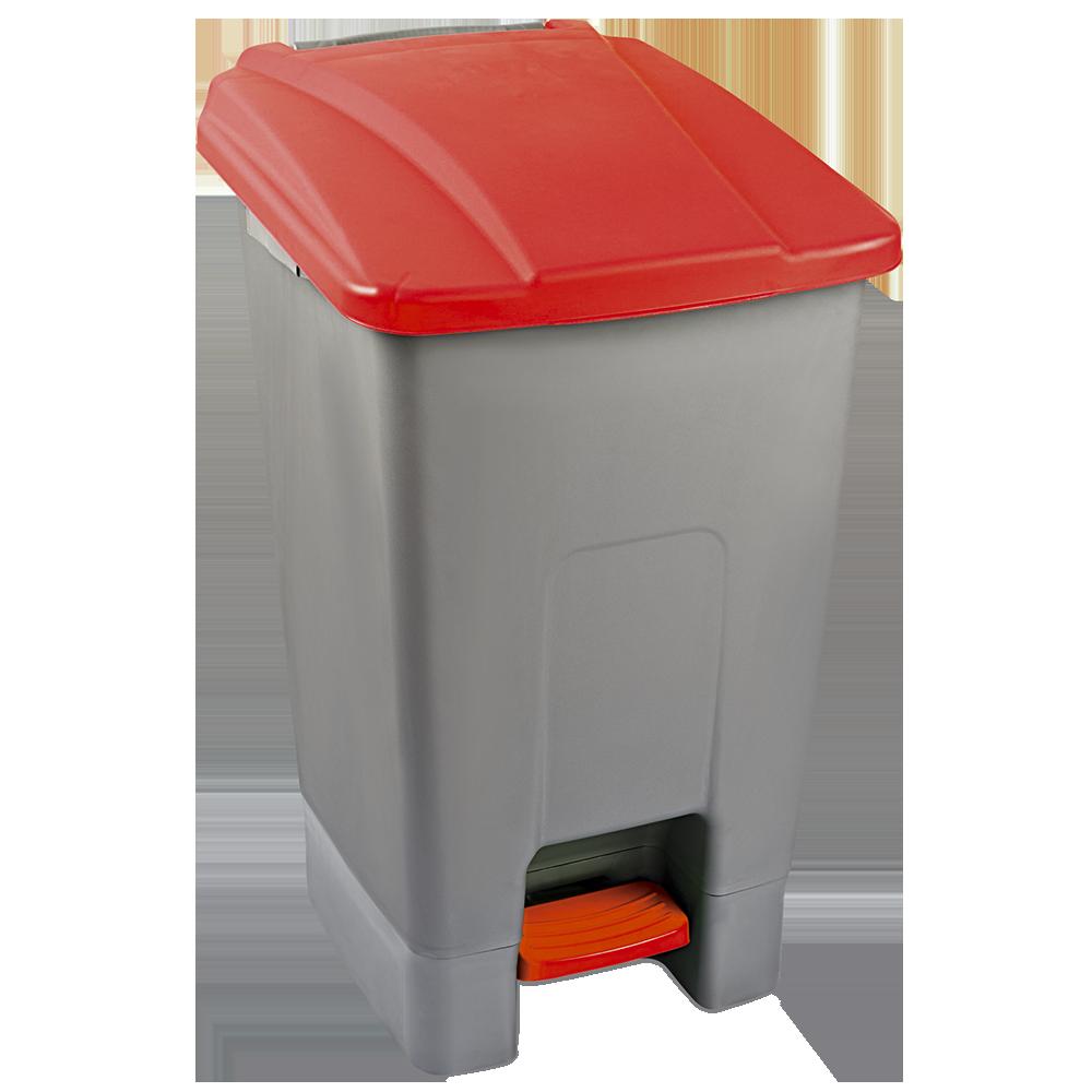 Бак для мусора с педалью Planet 70 л серо-красный
