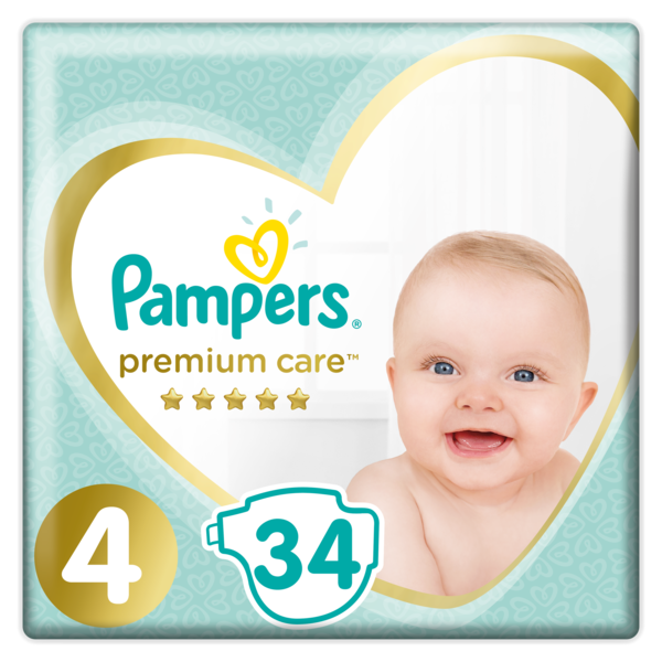 Подгузники Pampers Premium Care Размер 4 (Maxi), 9-14 кг, 34 подгузника