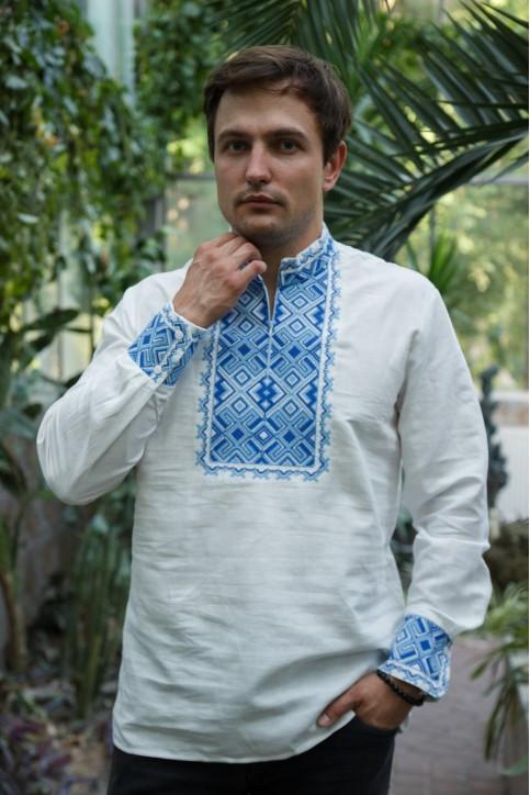 Чарівна, стильна чоловіча сорочка вишиванка з модним орнаментом