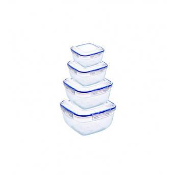 Набір герметичних контейнеров 4 шт. (275 * 500 * 900 * 1500 мл) квадратних 94065