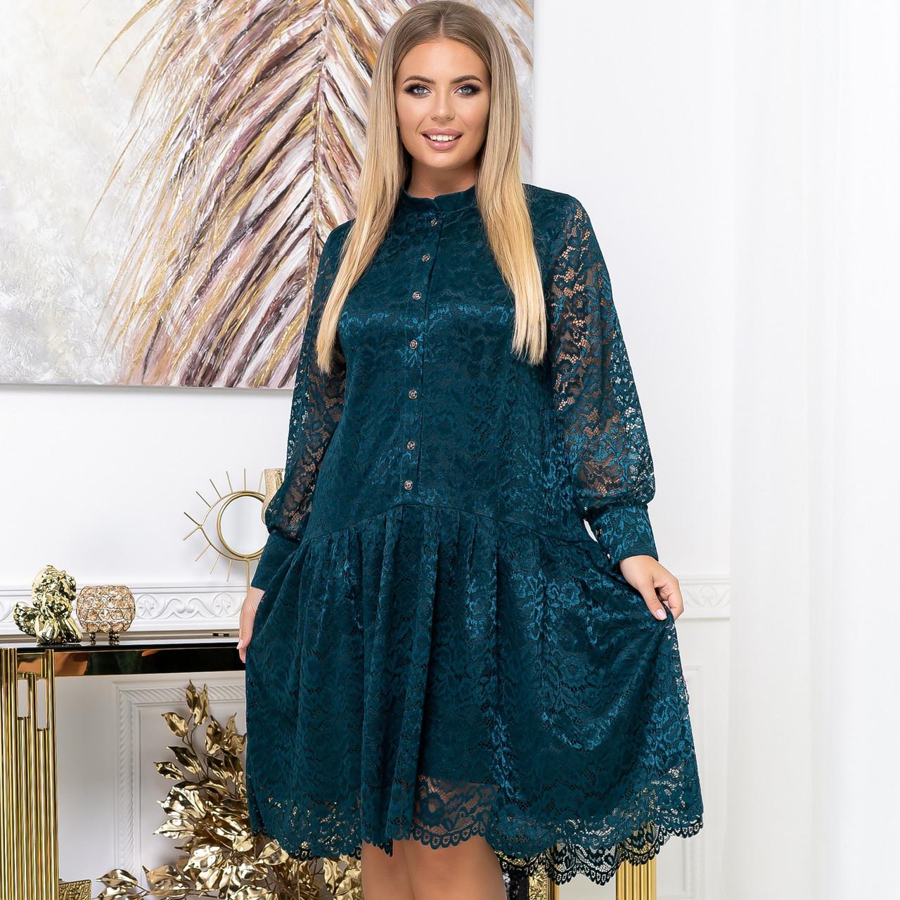 Нарядное гипюровое платье свободного кроя