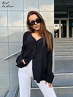 Жіноча стильна сорочка на гудзиках з V-подібним декольте Батал
