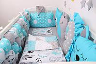 Комплект в кроватку с игрушками в лазурном цвете, фото 2