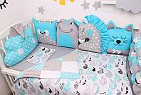 Комплект в кроватку с игрушками в лазурном цвете, фото 3