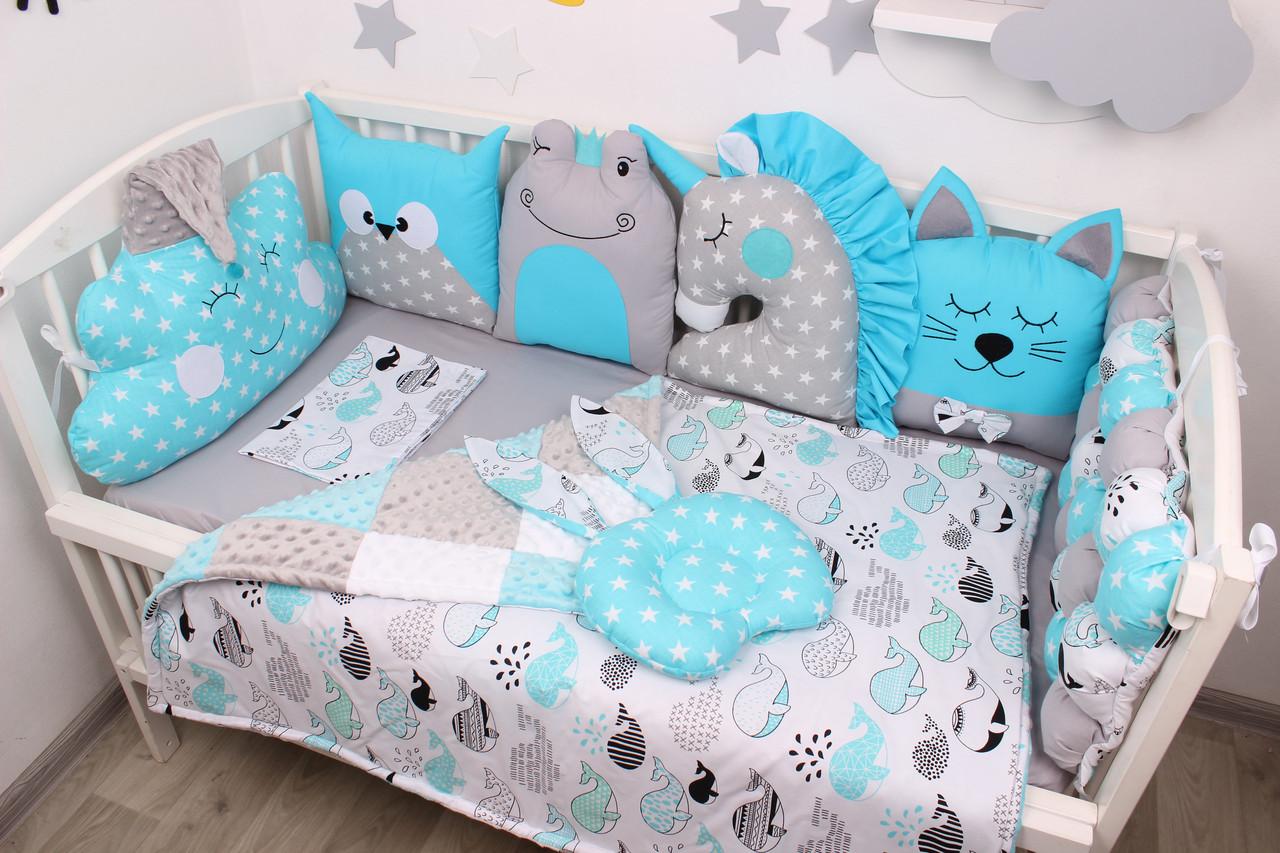 Комплект в кроватку с игрушками в лазурном цвете