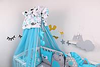 Комплект в кроватку с игрушками в лазурном цвете, фото 5