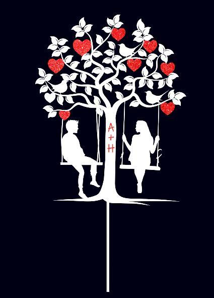 Топпер влюбленная пара на качелях под деревом   Индивидуальные буквы   Топпер из пластика