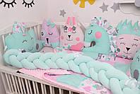 Комплект в кроватку с игрушками и косичкой в розово-мятном цвете, фото 4