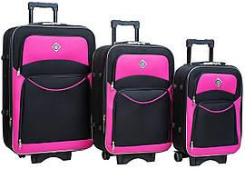 Набір валіз на колесах Bonro Style Чорно-рожевий 3 штуки