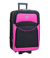 Дорожный чемодан на колесах Bonro Style Черно-розовый Большой