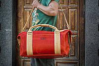 Красная кожаная спортивная сумка. Дорожная сумка из кожи