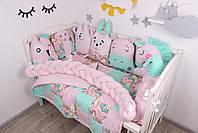 Комплект в кроватку с игрушками и косичкой в розово-мятном цвете, фото 3