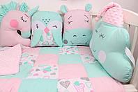 Комплект в кроватку с игрушками и косичкой в розово-мятном цвете, фото 2