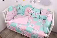 Комплект в кроватку с игрушками и косичкой в розово-мятном цвете, фото 5