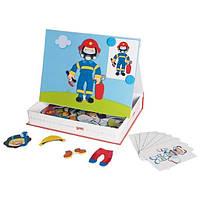 Детские игры для развития логического мышления goki Магнитная книга Наряды для мальчика 58741G