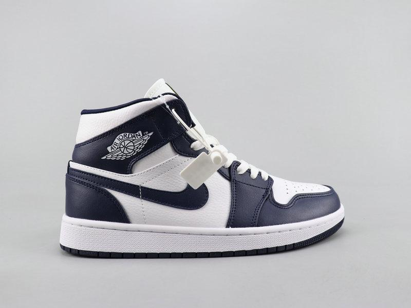 "Кроссовки Nike Air Jordan 1 Navy Blue/White ""Синие/Белые"""