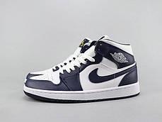 "Кроссовки Nike Air Jordan 1 Navy Blue/White ""Синие/Белые"", фото 2"