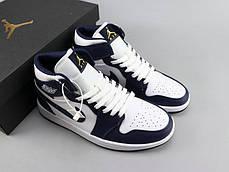 "Кроссовки Nike Air Jordan 1 Navy Blue/White ""Синие/Белые"", фото 3"
