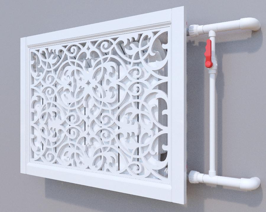 Декоративная решетка на батарею SMARTWOOD   Экран для радиатора   Накладка на батарею Короб, Грунтованная,