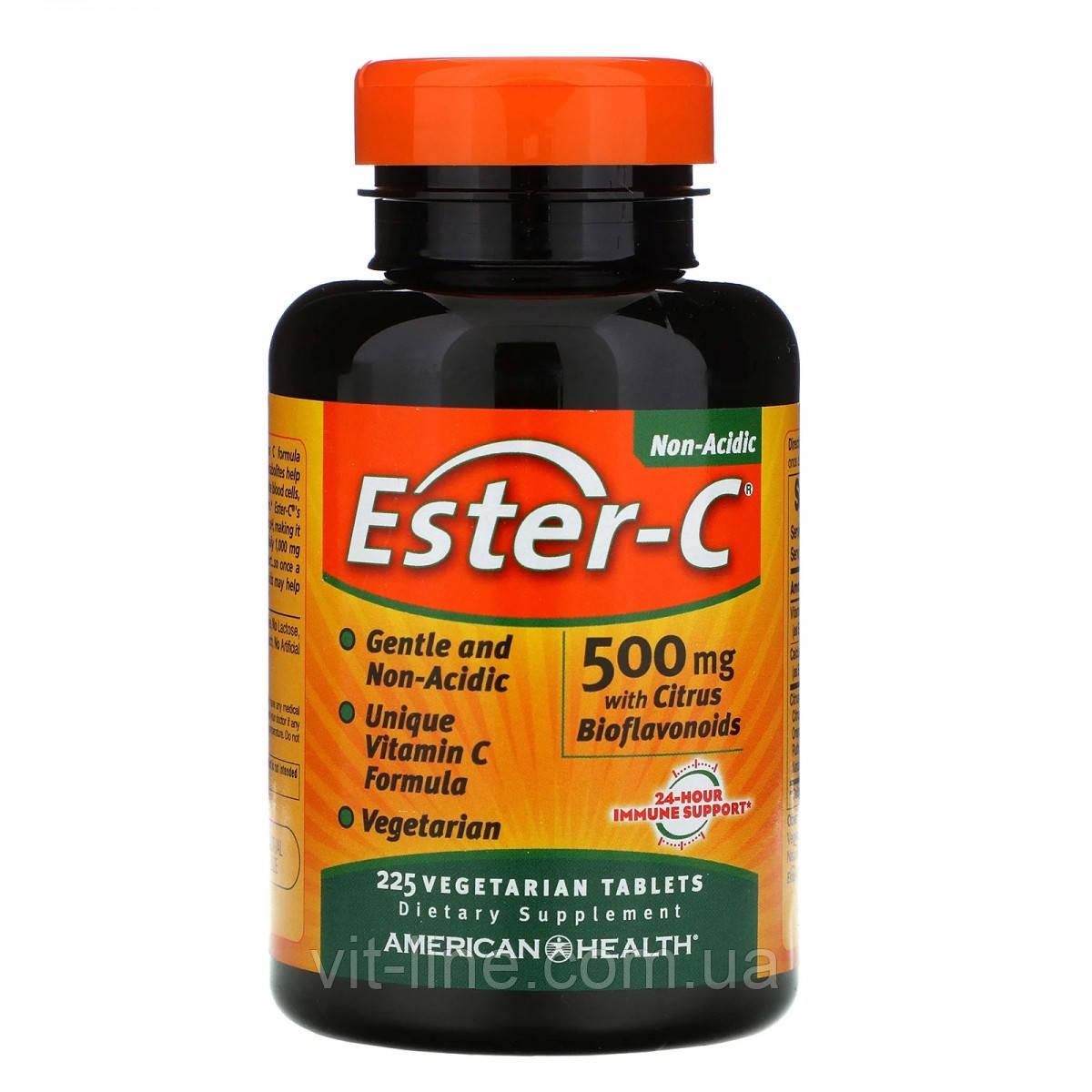 American Health, Ester-C с цитрусовыми биофлавоноидами, 500 мг, 225 вегетарианских таблеток