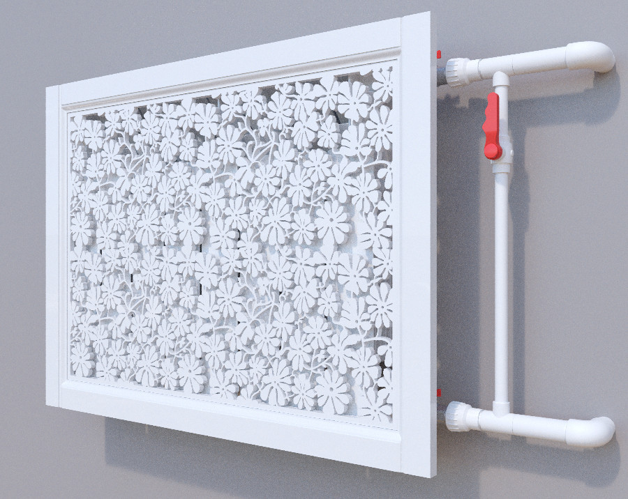 Декоративная решетка на батарею SMARTWOOD | Экран для радиатора | Накладка на батарею Короб, Без отделки,