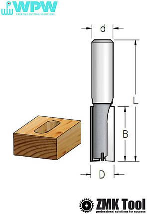 Фреза WPW прямая пазовая S=12 D=20x25x67 Z=2+1 с врезным зубом, фото 2