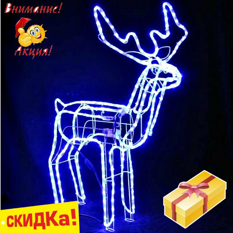 Олень новогодний светящийся 95см,Олень светящийся поворотом головы синий,Светодиодный олень