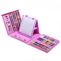 Детский набор для рисования Чемодан для творчества юного художника 208 шт с мольбертом для девочек Розовый