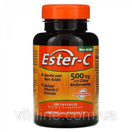 Ester-C с цитрусовыми биофлавоноидами, 500 мг, 120 капсул American Health, фото 2