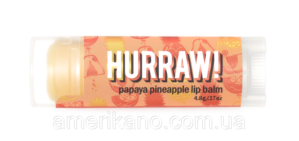 Натуральный бальзам для губ Hurraw Papaya Pineapple Папайя и Ананас, США