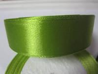 Лента атлас 2,5 см оливка, фото 1