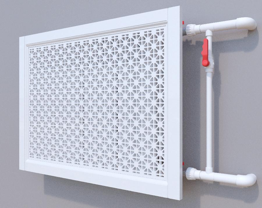Декоративная решетка на батарею SMARTWOOD   Экран для радиатора   Накладка на батарею 600*600 Короб,