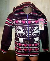 Кофта детская вязанная  для девочки на молнии с капюшоном.
