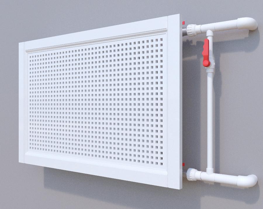Декоративная решетка на батарею SMARTWOOD   Экран для радиатора   Накладка на батарею 600*600