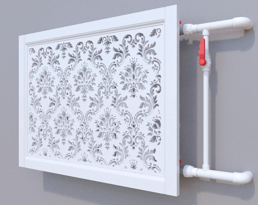 Декоративная решетка на батарею SMARTWOOD   Экран для радиатора   Накладка на батарею 600*600 Короб, Без