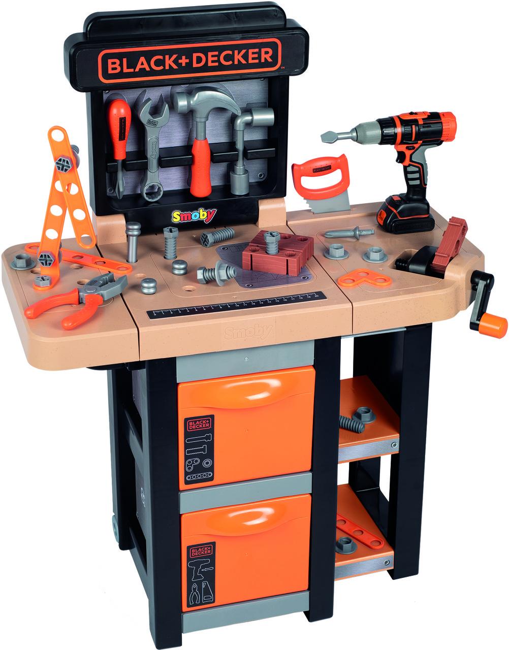 Детский набор инструментов Smoby Смоби Мобильная мастерская 37 аксессуаров Black+Decker 360315
