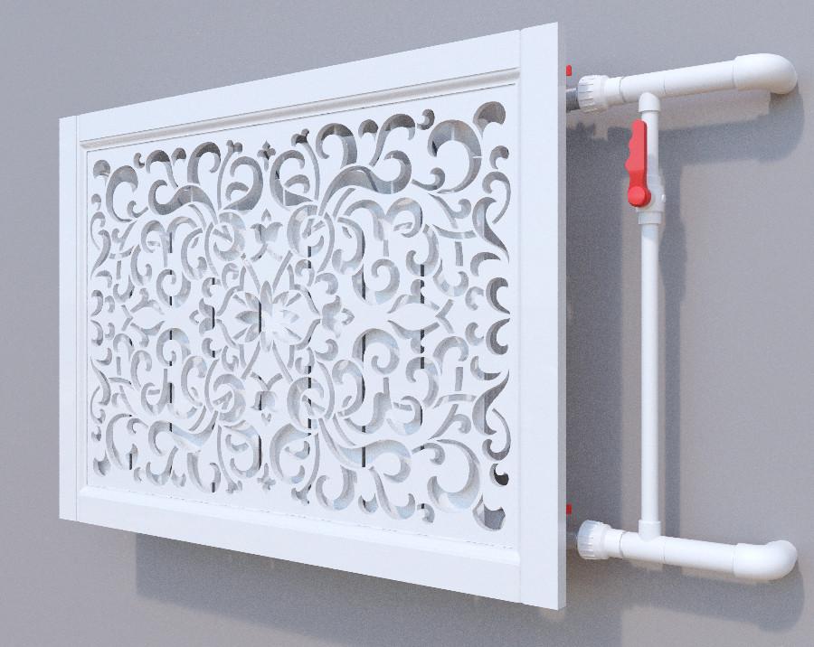 Декоративная решетка на батарею SMARTWOOD   Экран для радиатора   Накладка на батарею 600*600 Решетка, Без